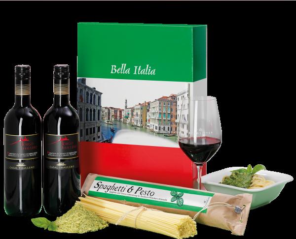 """Montepulciano d'Abruzzo Rotwein & Pasta Perfetto """"Bella Italia"""""""