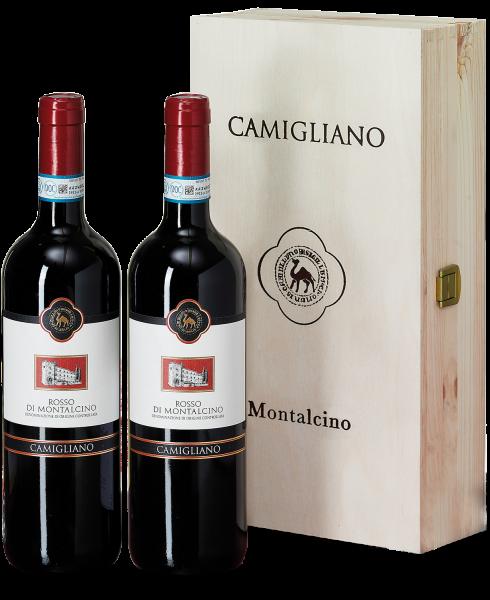 Edler Rosso di Montalcino: Castello di Camigliano in der Holzkiste