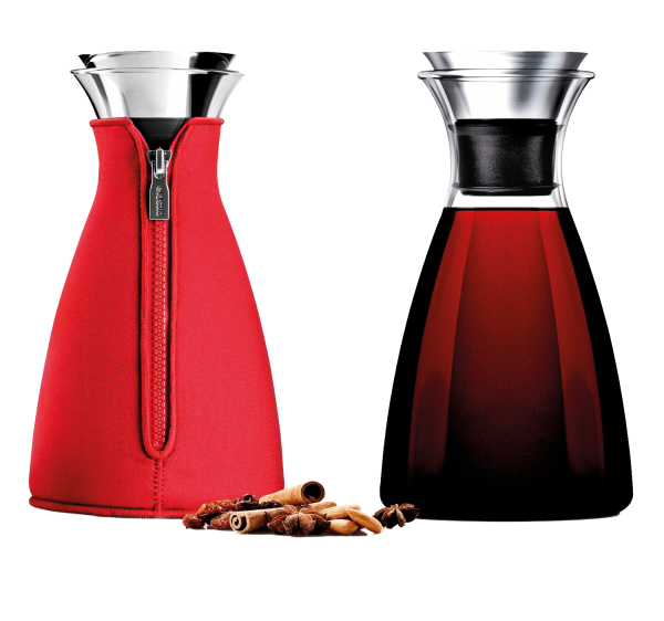 evasolo Karaffe für Heiß- u. Kaltgetränke im abnehmbarem Neoprenmantel