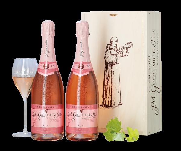 Champagner Gobillard & Fils Rosé Brut in der edlen Champagner-Kiste