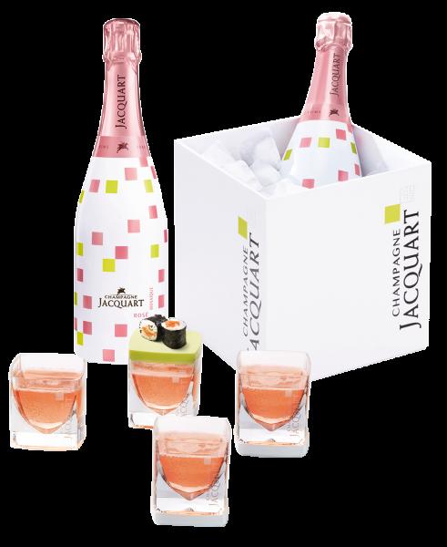 Champagne Jacquart ROSÉ & Designkühler dazu 4 avantgardistische Gläser