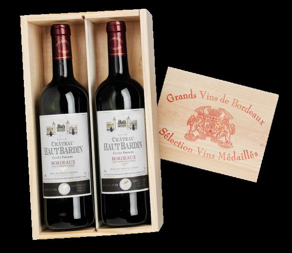 Bordeaux: GOLDMEDAILLE Château Haut Bardin in der Holzkiste
